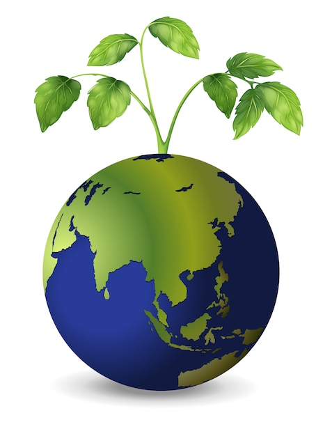 Planet earth with growing plants Premium Vector