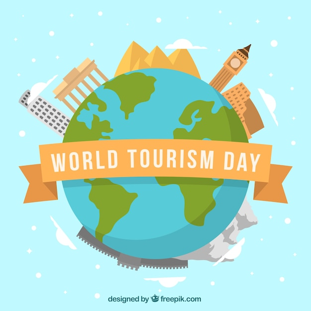 Planet earth with monuments, world tourism day Free Vector