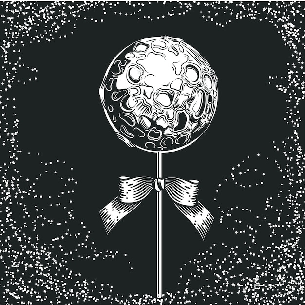 Planet in the form of candy on a stick. space illustration. Premium Vector