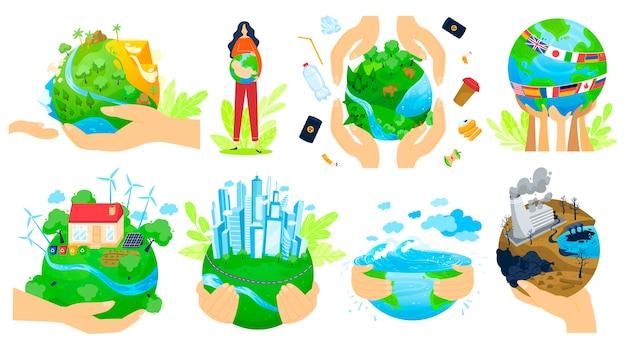 人の手で惑星はベクトルイラストセットです。人間の腕の手でグリーングローブを保持し、地球惑星の生態を保存して品質を向上 Premiumベクター