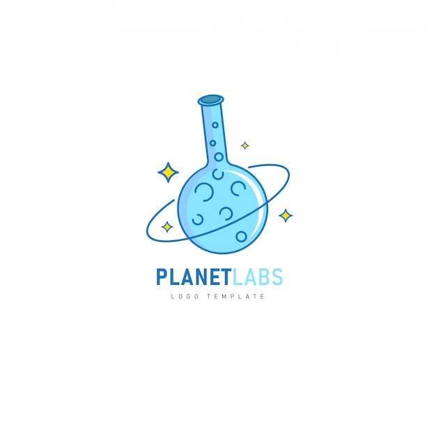Planet labs with chemical tube design for pharmaceutical, laboratory, chemical logo Premium Vector