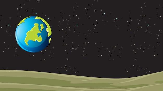 Planet landscape earth scene Free Vector