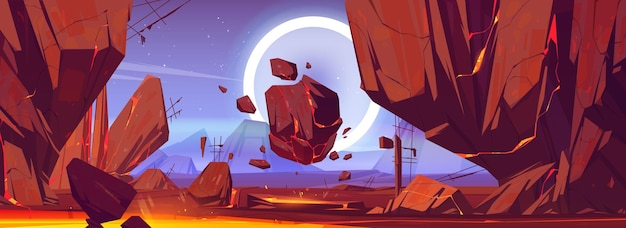 Paesaggio del pianeta con rocce e lava nelle fessure Vettore gratuito