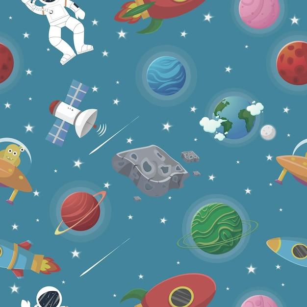 星座と星のある惑星パターン。オープンスペースでロケットとエイリアンと宇宙飛行士 Premiumベクター