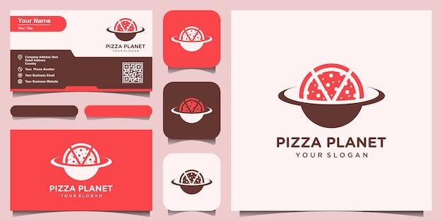 惑星ピザのロゴデザインテンプレートです。ロゴと名刺デザインのセット Premiumベクター
