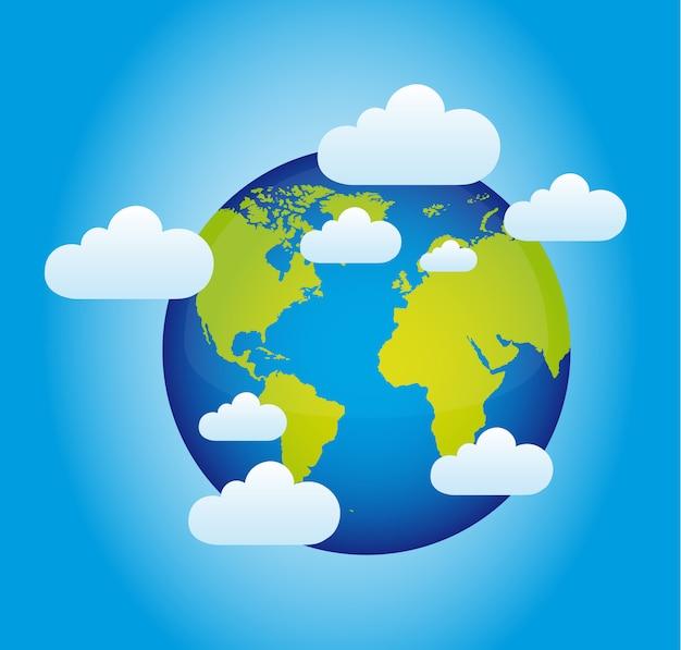 Планета с облаками над синим Premium векторы