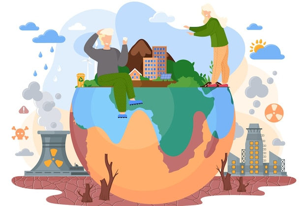Планета с зелеными деревьями и кустами в окружении безжизненной земли с трещинами, тема загрязнения окружающей среды с пнями срубленных деревьев для строительства городов, фабрики загрязняют воздух дымом плоский вектор Premium векторы