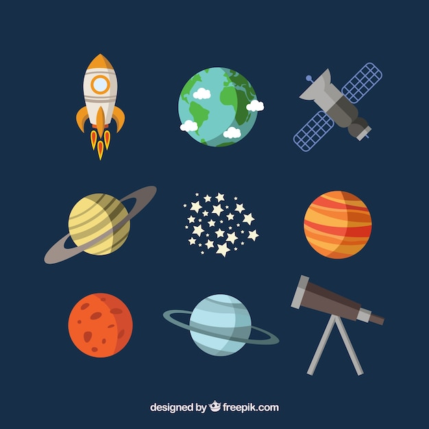 Planets, a satellite and a telescope Free Vector