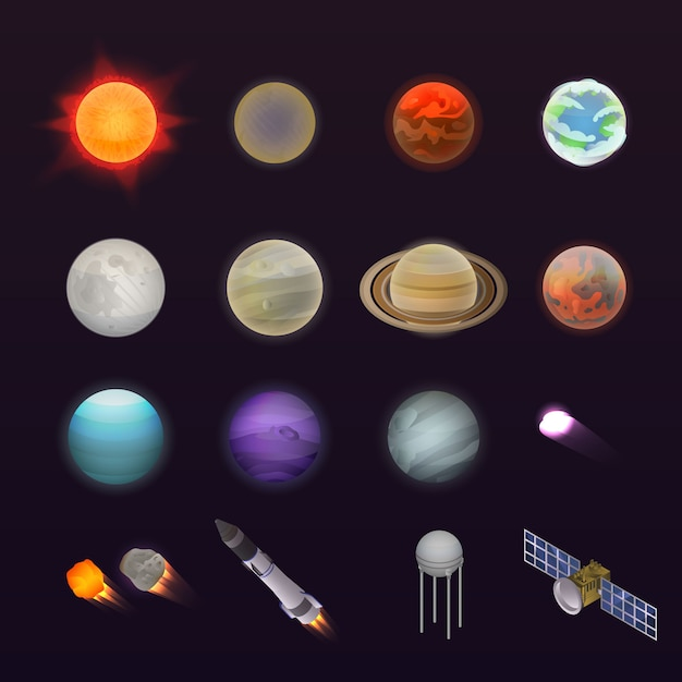 Planets icon set. isometric set of planets vector icons for web design isolated on white background Premium Vector