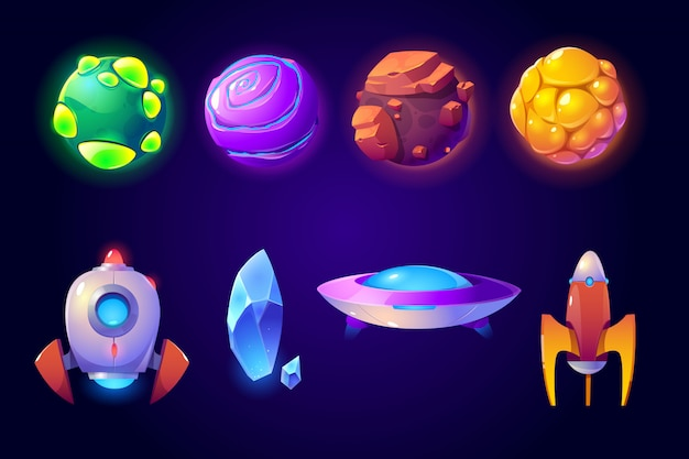 Planets, rockets and alien ufo set, computer game Free Vector