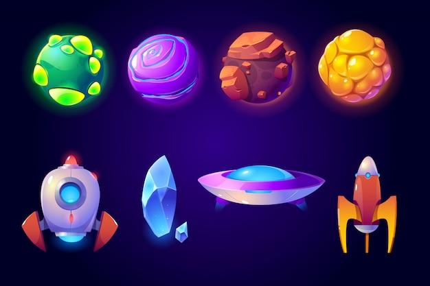惑星、ロケット、エイリアンufoセット、コンピューターゲーム 無料ベクター