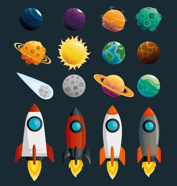 Planets and rockets of the solar system scene Premium Vector