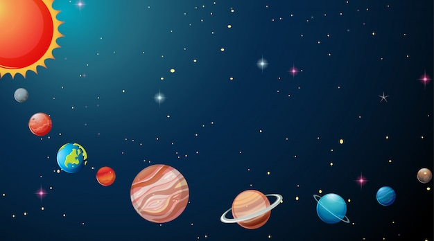 Planets in solar system background Free Vector