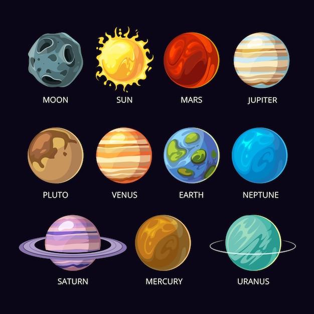 Planets of solar system cartoon set on dark sky space background. Premium Vector