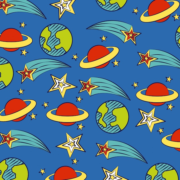 Planets and stars on blue Free Vector