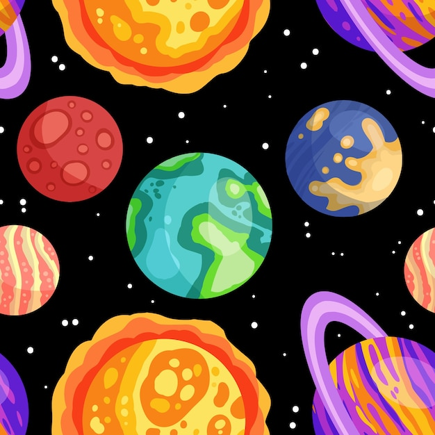 Planets, stars and satellites on a starry sky space seamless pattern Premium Vector