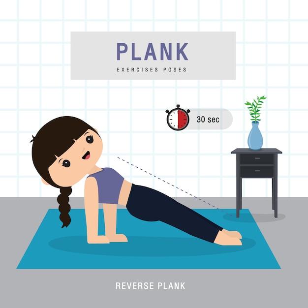 플랭크 운동. 깔기 운동과 체육관 집에서 요가 훈련을하는 여자 프리미엄 벡터