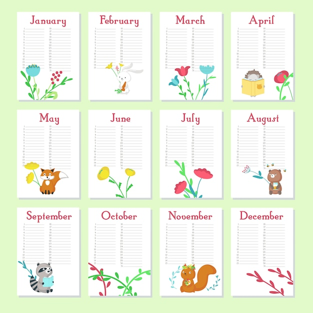 Planner calendar vector template with cute animals Premium Vector