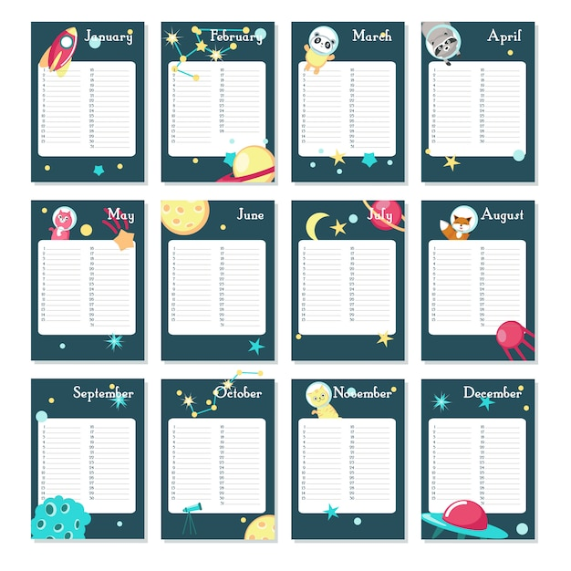 Planner calendar vector template with space animals Premium Vector