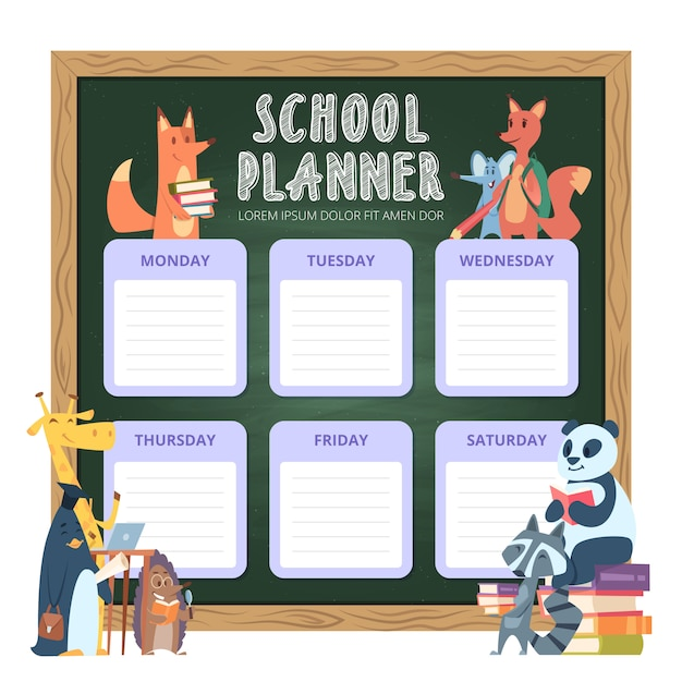 Planner for kids. school personal list organization for week funny cartoon animals illustrations Premium Vector