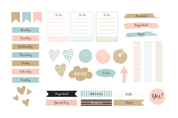 Planner scrapbook set collection Free Vector