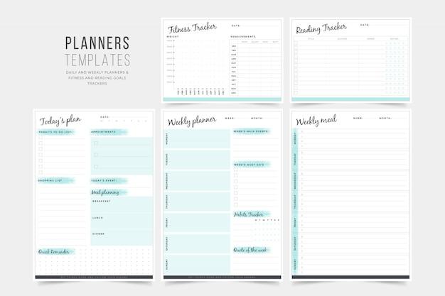 Planner templates collection Premium Vector