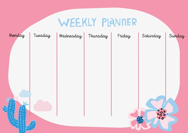 Planner with spring floral scandinavian illustrations and trendy lettering. Premium Vector