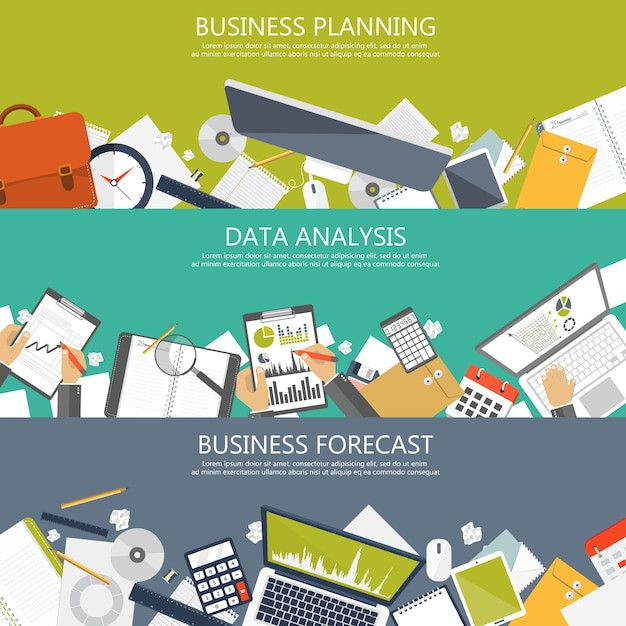 Planning, analysis and forecast banners Free Vector