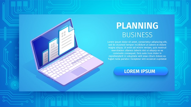 Planning business horizontal banner with laptop Premium Vector