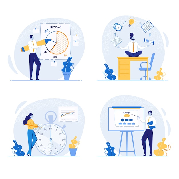 Planning concept and tasks organization on board. Premium Vector