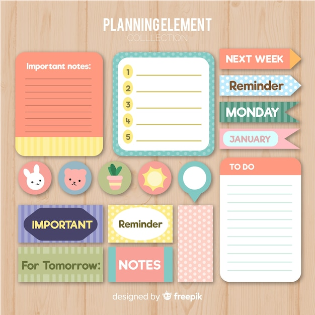 Planning elements collection Free Vector
