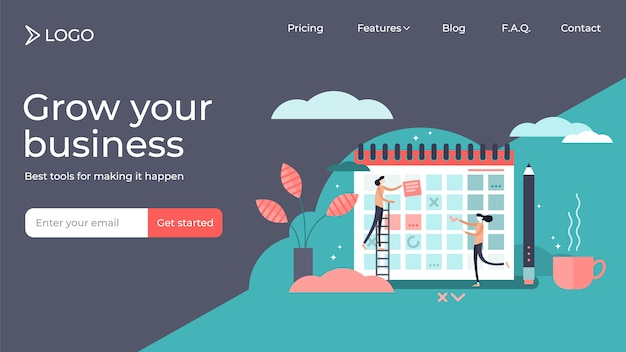 Planning flat tiny persons vector illustration landing page template design Premium Vector