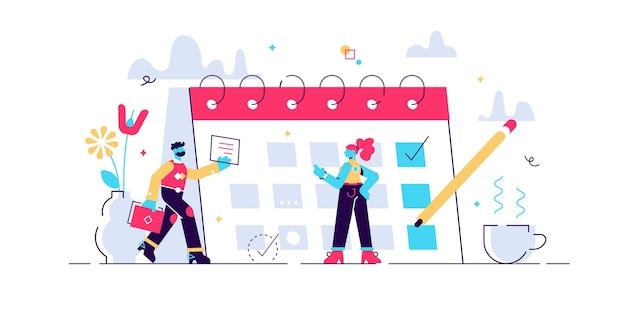 Планирование иллюстрации. t мини-концепция людей с расписанием календаря. Premium векторы