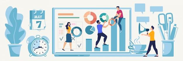 Planning online startup strategy vector concept Premium Vector