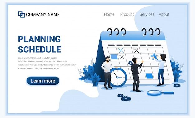 Концепция планирования расписания. люди заполняют график по гигантскому календарю, планируют работу, незавершенную работу. иллюстрация Premium векторы