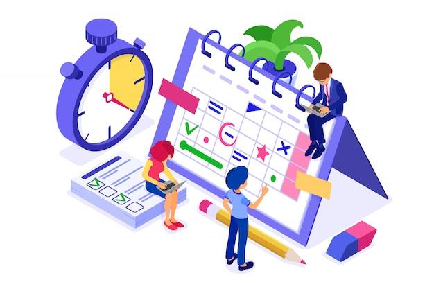 計画計画時間管理ビジネスマンストップウォッチで家から仕事を計画するスケジュールカレンダーの目標時間の分離された等尺性インフォグラフィックビジネスの目標をピックアップ Premiumベクター