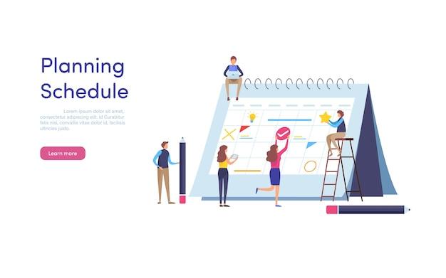 Planning schedule. Premium Vector