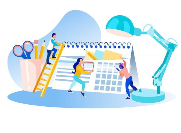 Planning time management metaphor cartoon Premium Vector