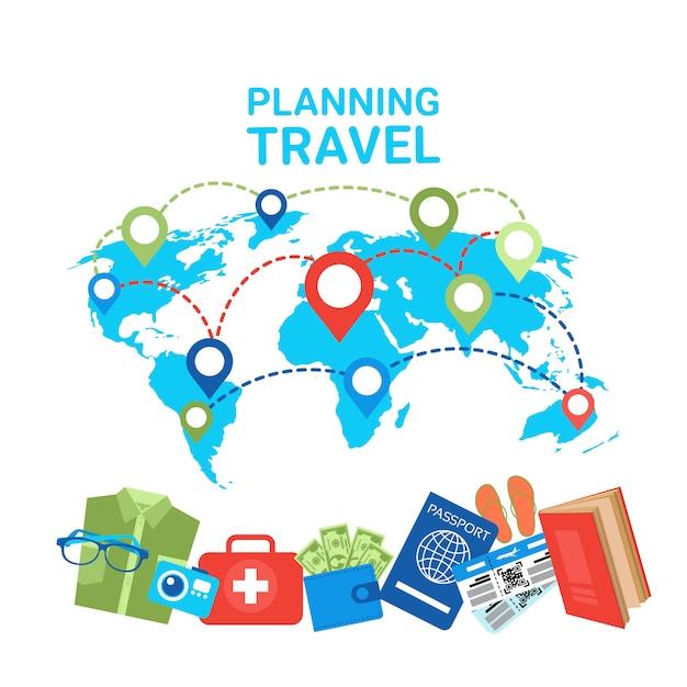 世界地図上の旅行コンセプトポインタの計画手荷物アイテム Premiumベクター