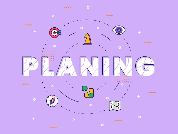 Planning typography calligraphy word art with filled color style Premium Vector
