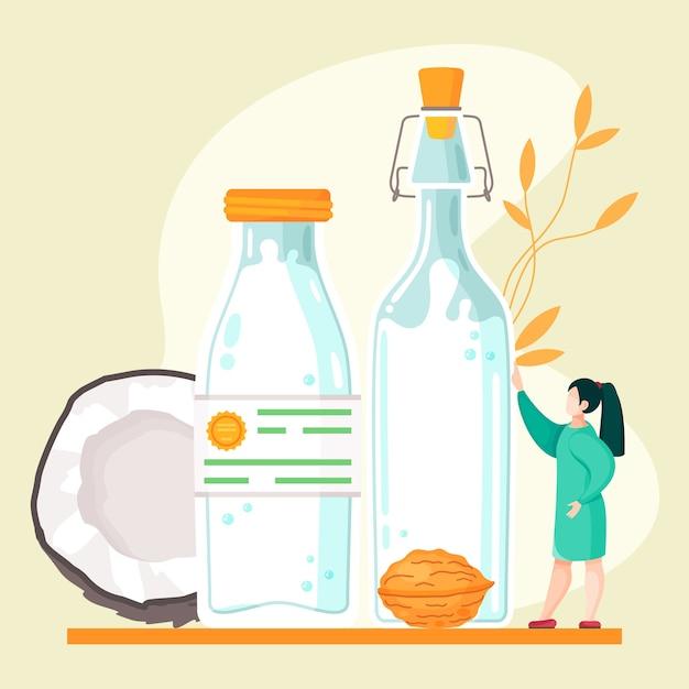 Веганское ореховое молоко на растительной основе. здоровая коровья альтернатива лактозному молоку Premium векторы