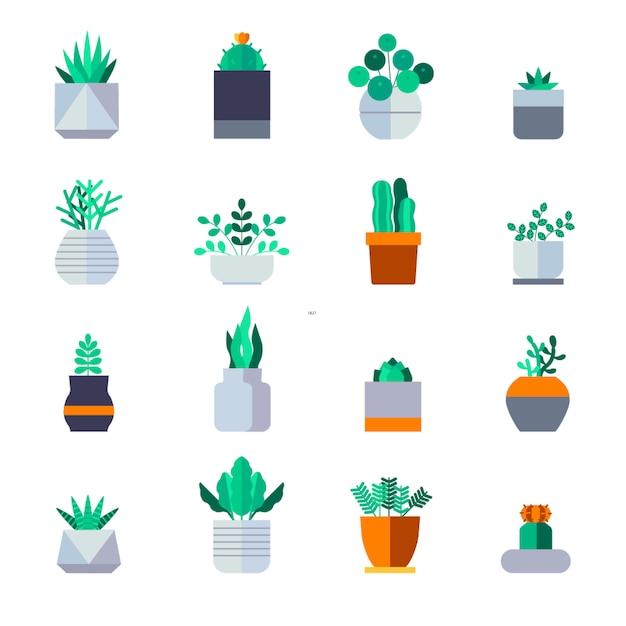 Plant icon set vector Premium Vector
