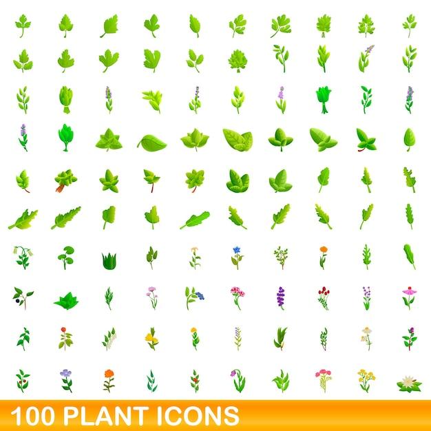 Набор иконок растений. карикатура иллюстрации растений иконок на белом фоне Premium векторы
