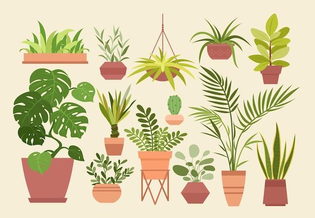 Набор растений в горшках, мультяшные разные комнатные горшечные декоративные комнатные растения для интерьера дома Premium векторы