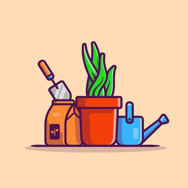 Plant, pot, kettle and shovel cartoon  icon illustration. nature object icon concept Free Vector