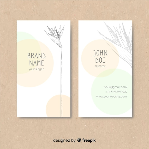 Plant sketch business card Free Vector
