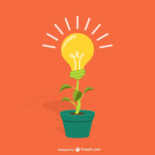Plant with lightbulb cartoon Free Vector