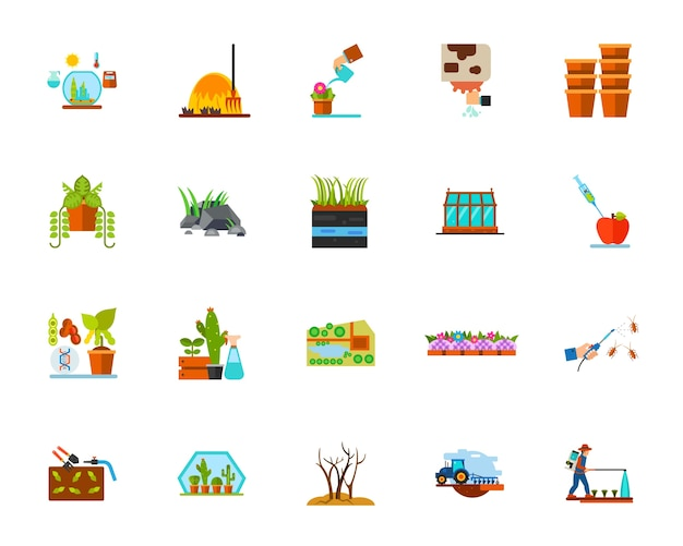 Planting icon set Free Vector