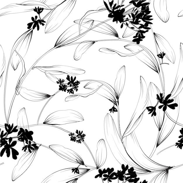植物とハーブのシームレスなパターン。デザインや招待状の要素の要素 無料ベクター
