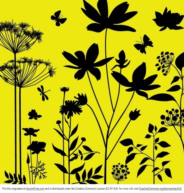 Plants and insects on yellow background